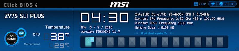 MSI Z97S SLI PLUS / i5-4690K / 8Go DDR3-1600 / GTX-760 / SSD